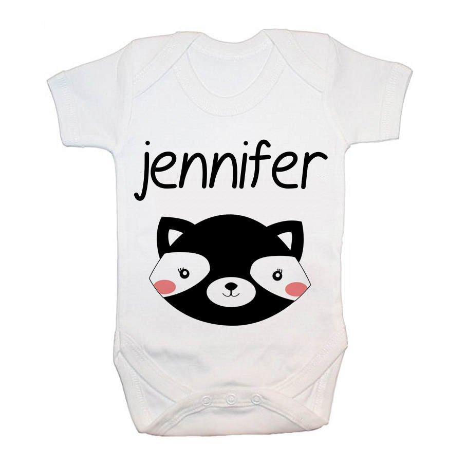 Personalised Little Skunk Face Baby Grow