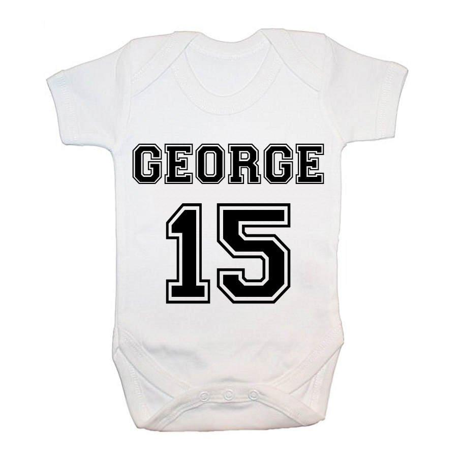 Personalised Football Kit Baby Grow