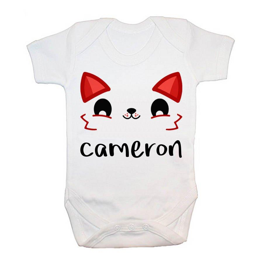 Personalised Cute Fox Eyes Baby Grow
