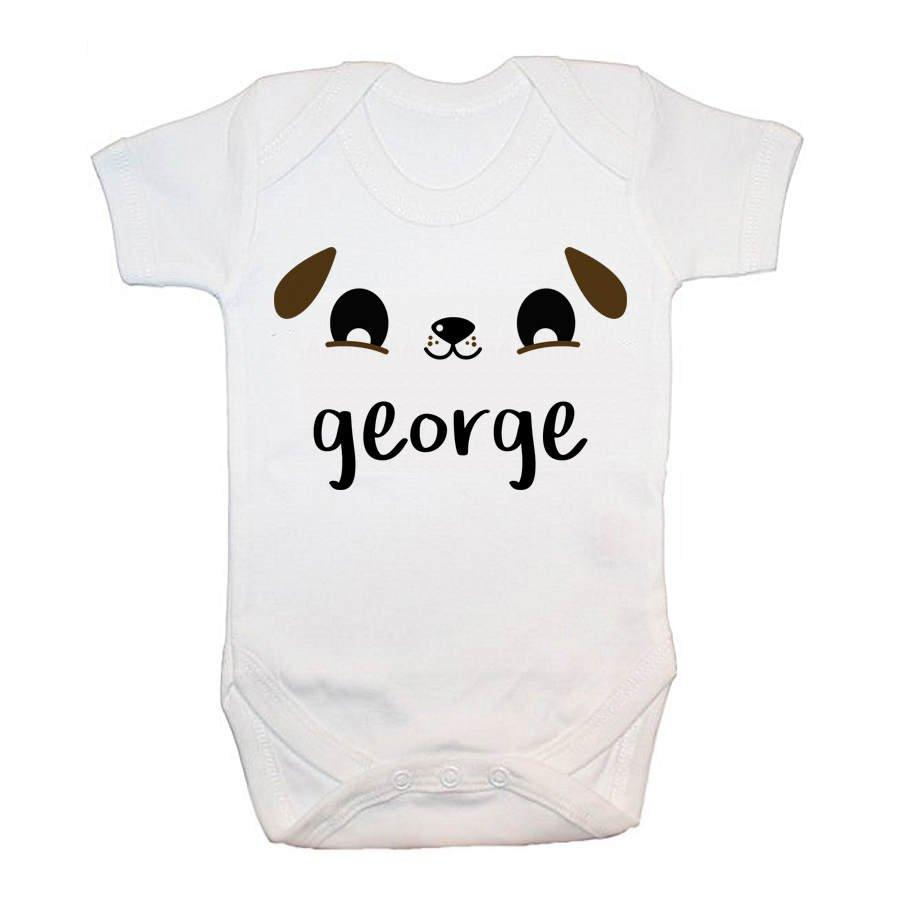 Personalised Cute Puppy Eyes Baby Grow - treat-republic