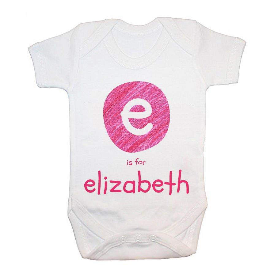 Personalised Pink Initial Baby Grow