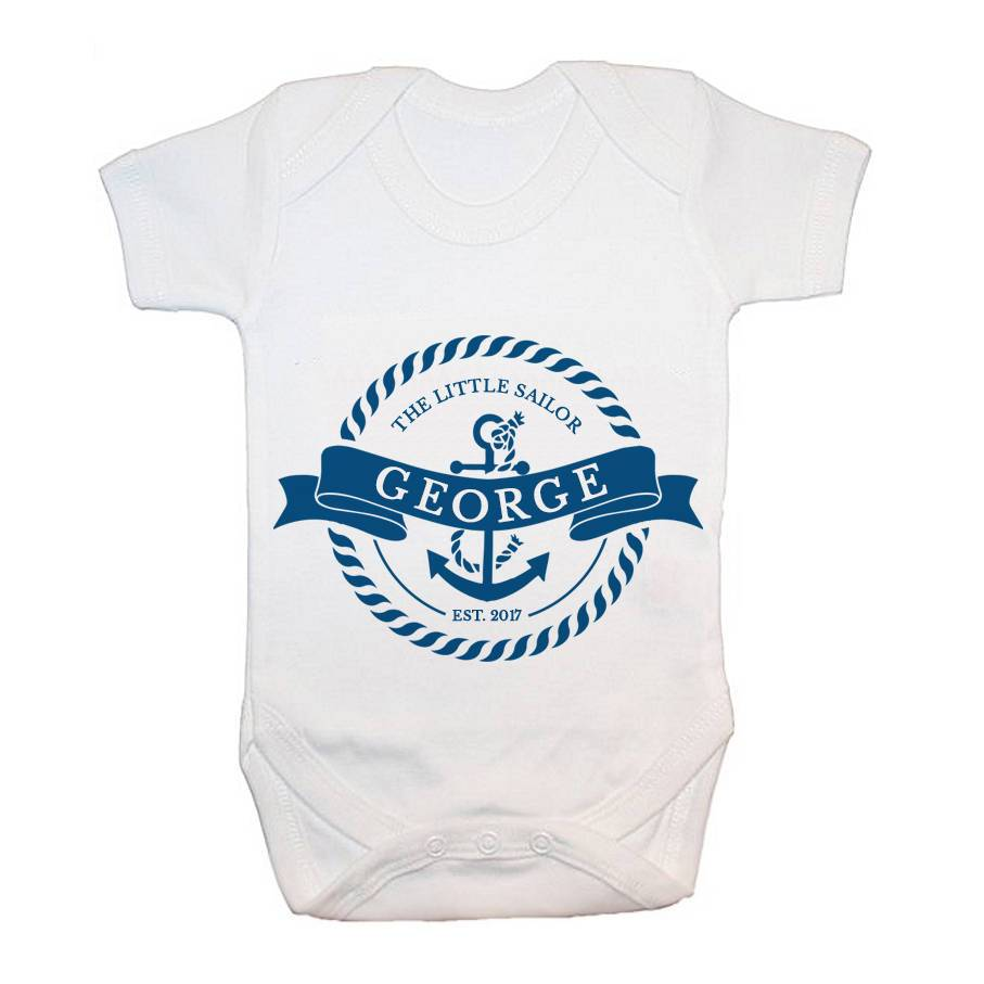 Personalised Little Sailor With Anchor Baby Grow