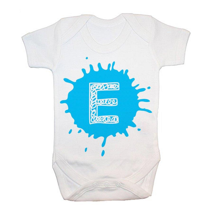 Personalised Splatter Initial Baby Grow