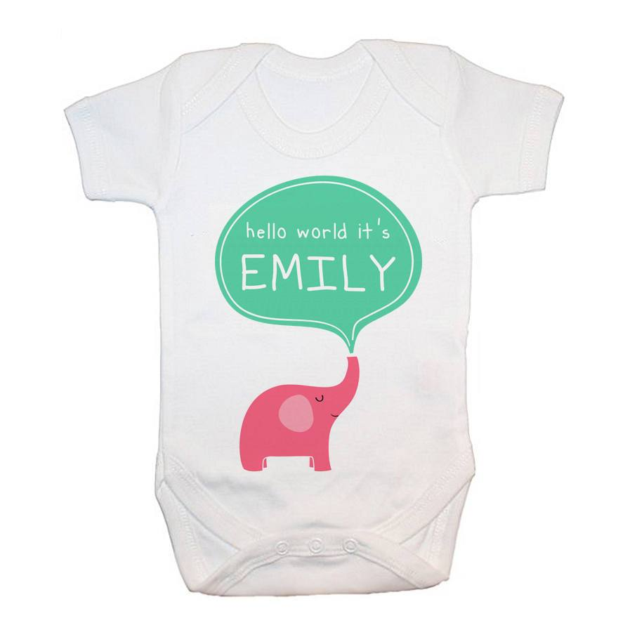 Personalised Hello Baby Elephant Baby Grow - treat-republic