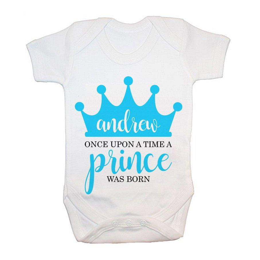 Personalised Once Upon A Time A Prince Was Born Baby Grow - treat-republic