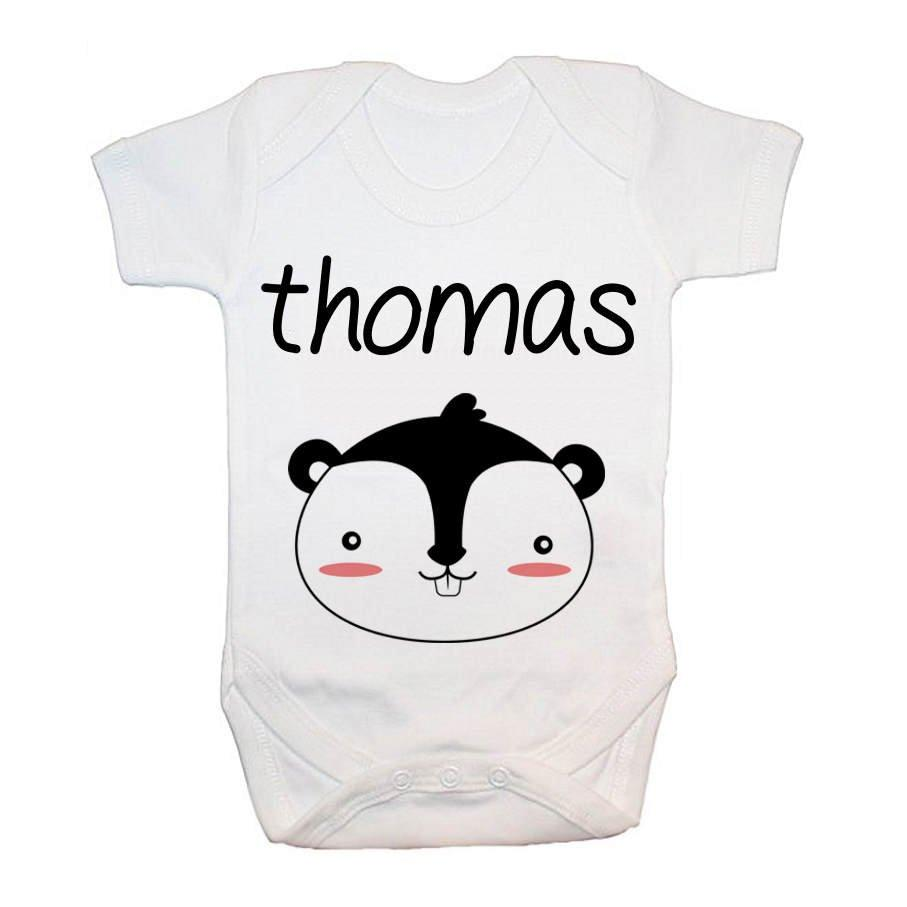 Personalised Little Squirrel Face Baby Grow