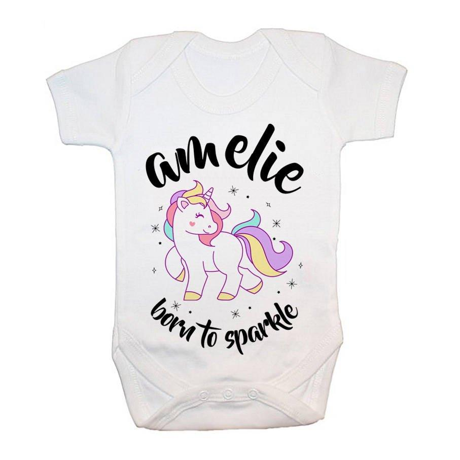 Personalised Unicorn Born To Sparkle Baby Grow