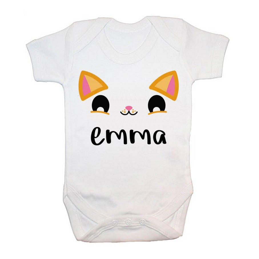 Personalised Cute Kitten Eyes Baby Grow - treat-republic