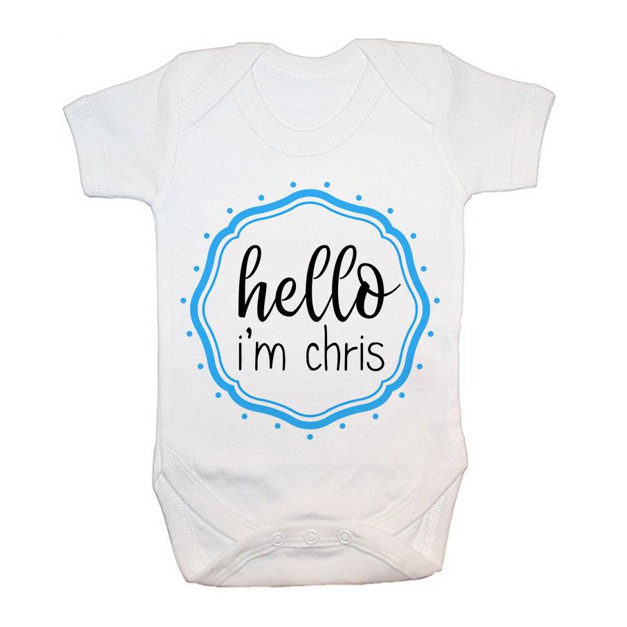 Personalised Hello Baby In Blue Frame Baby Grow