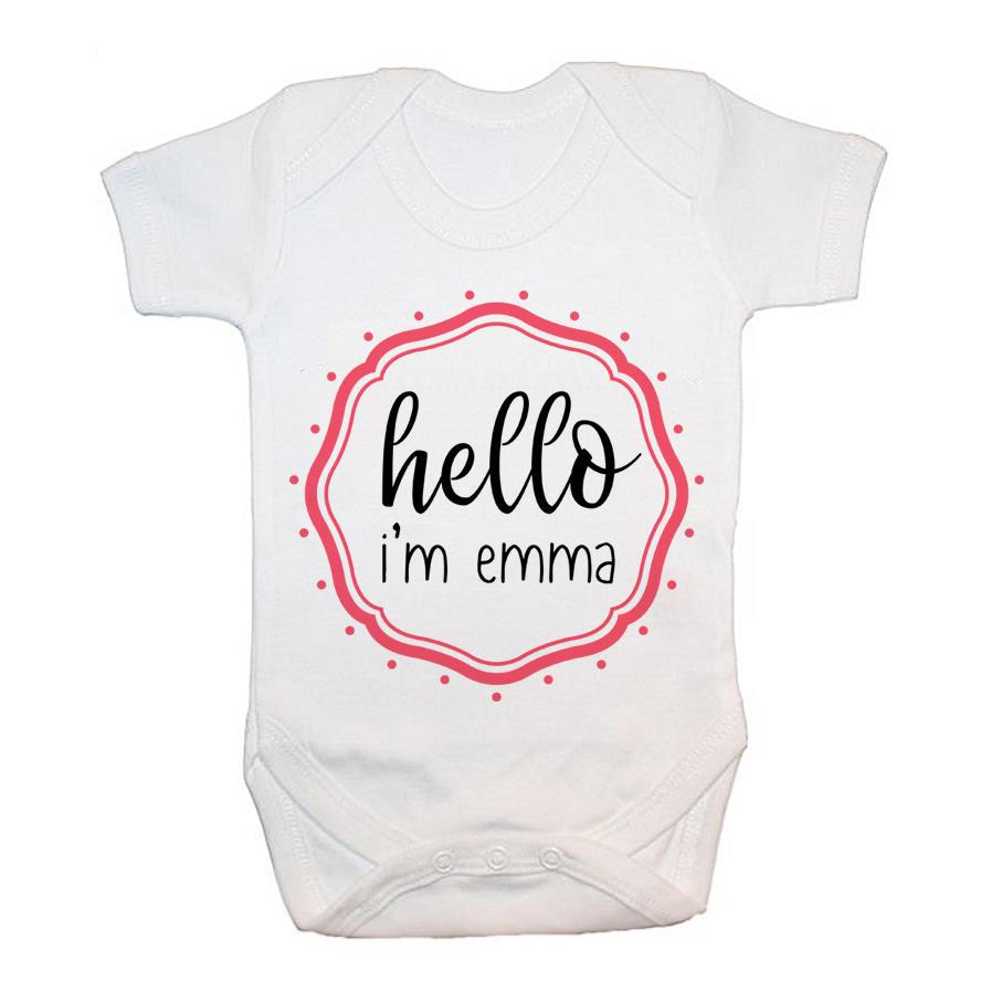 Personalised Hello Baby In Pink Frame Baby Grow