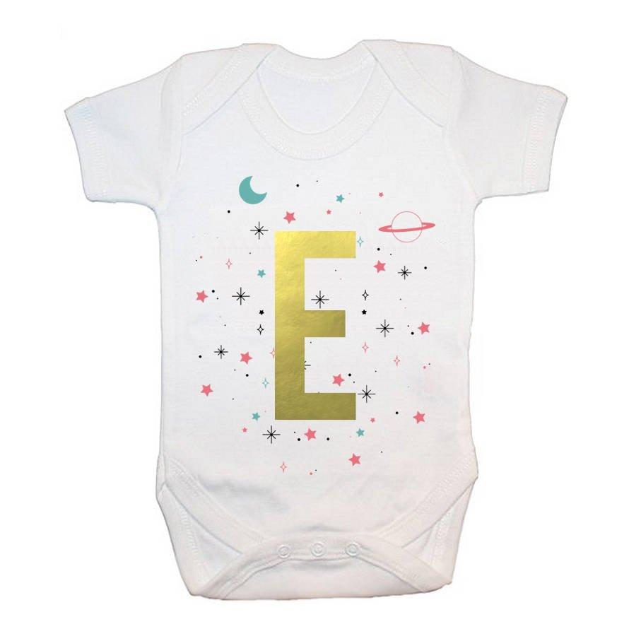 Personalised Space Girl Baby Grow