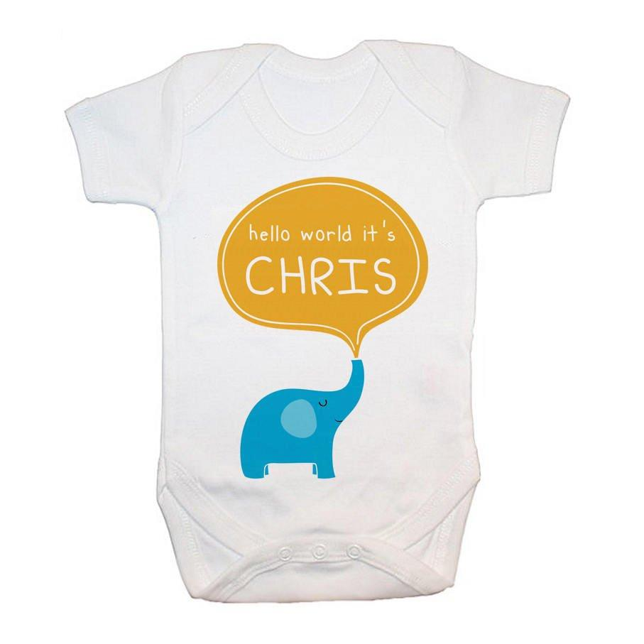 Personalised Hello Baby Elephant Baby Grow