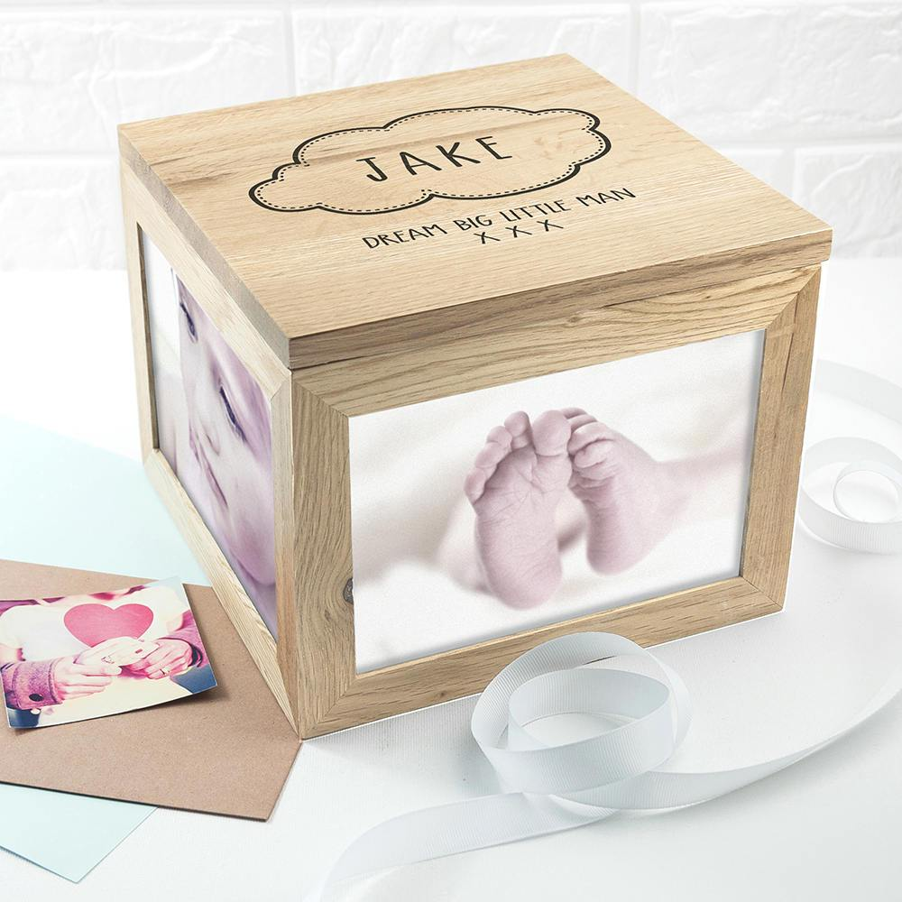 Baby Name in Cloud Oak Photo Keepsake Box - treat-republic