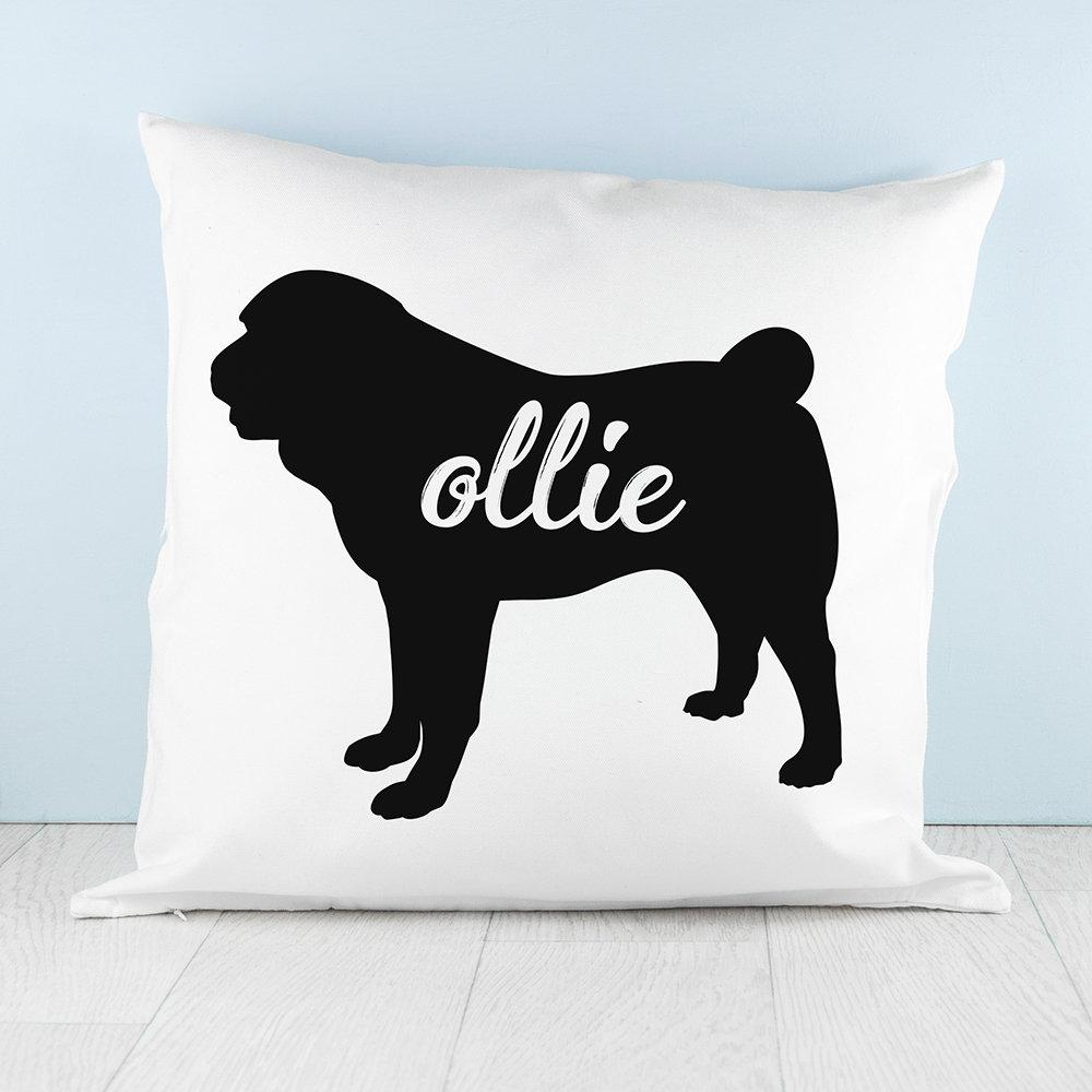 Personalised Pug Silhouette Cushion Cover - treat-republic