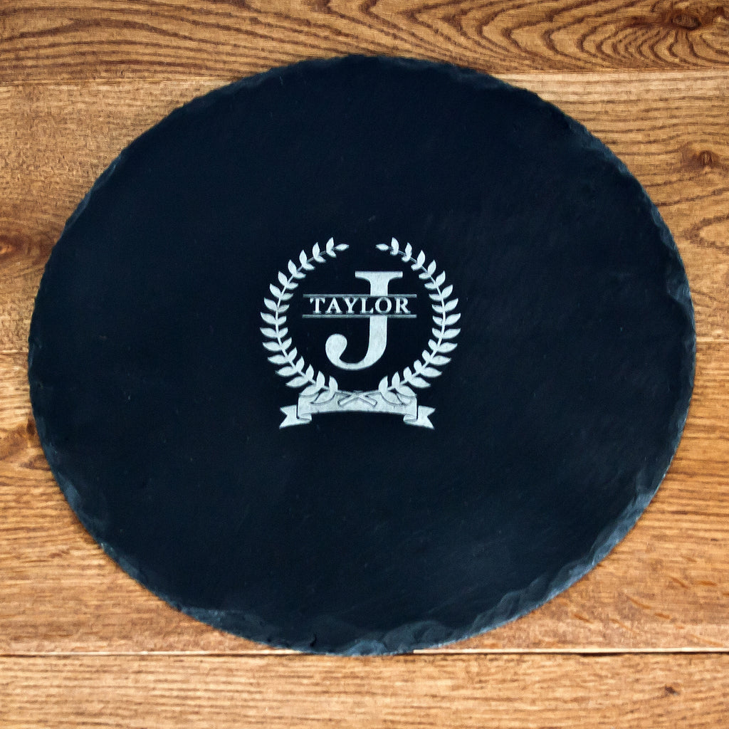 Initial and Surname of Honour Round Slate Cheese Board - treat-republic