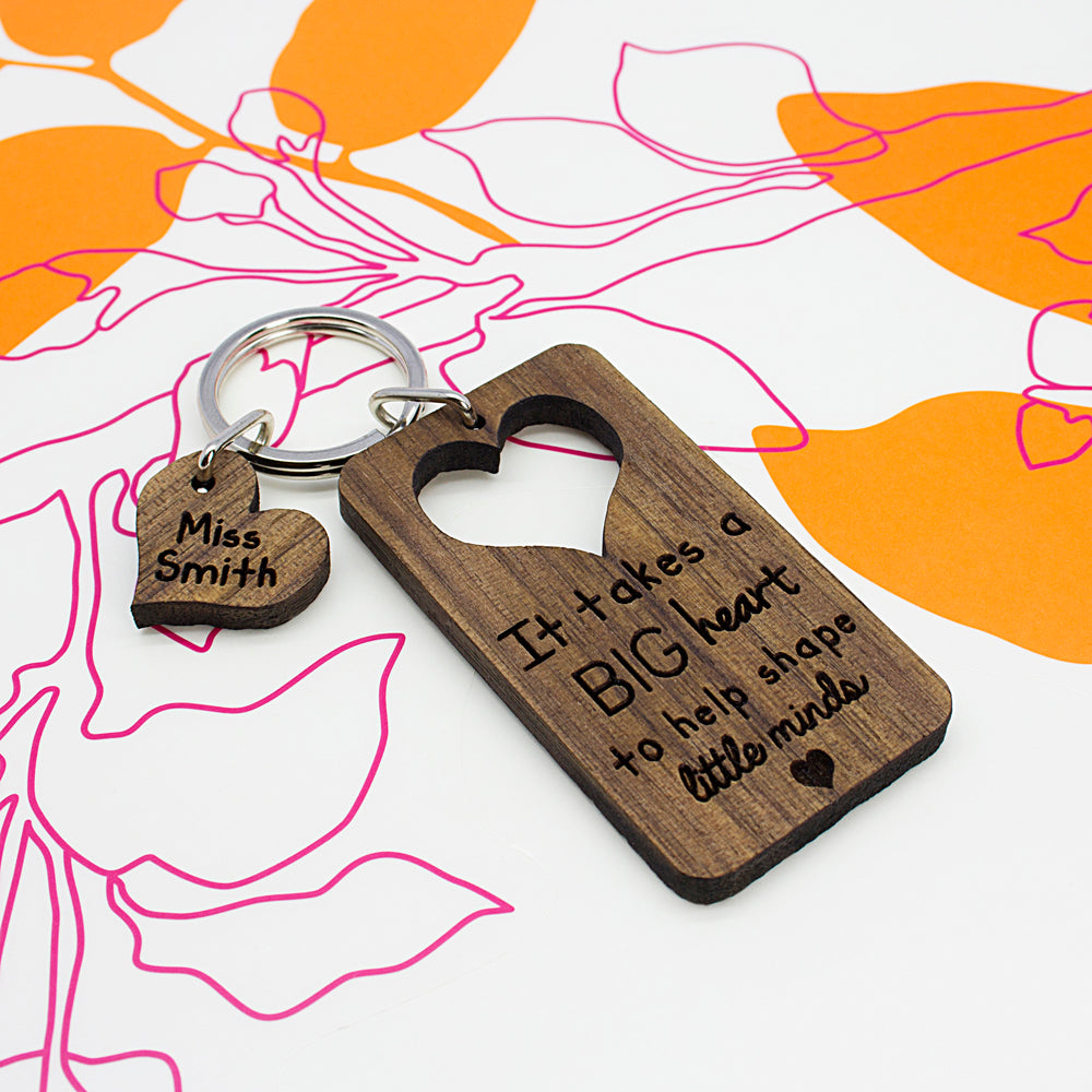 It Takes A Big Heart To Shape Little Minds Personalised Teachers Keyring - treat-republic