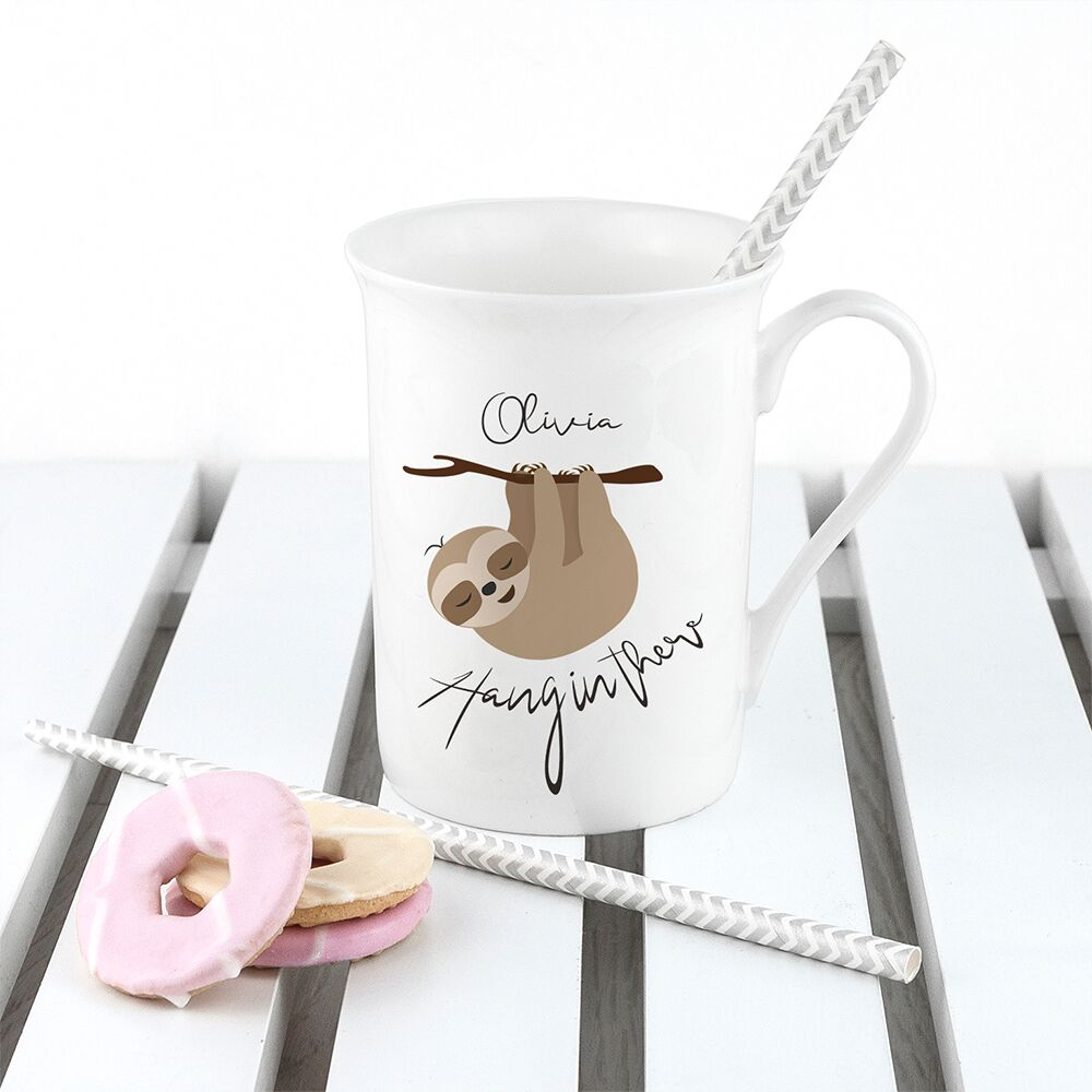Personalised Sloth Hang In There Bone China Mug - treat-republic
