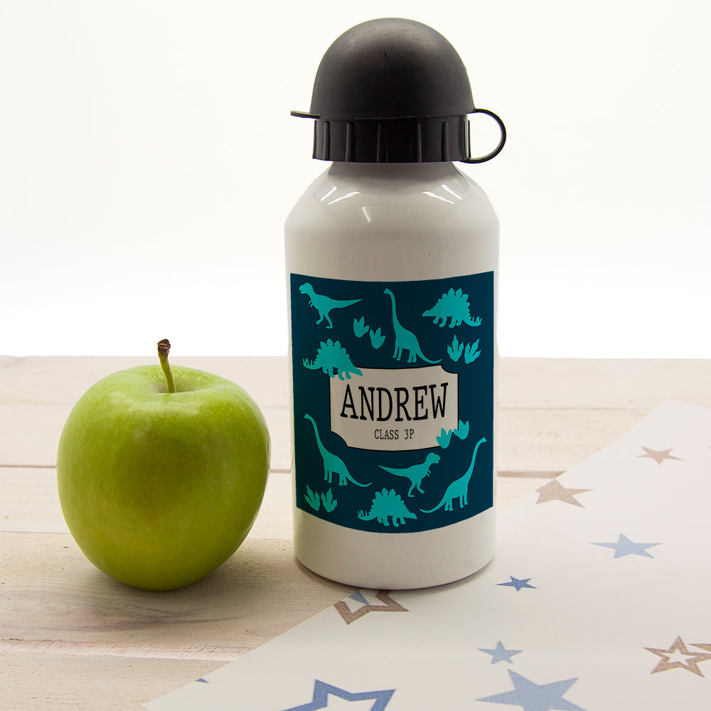 Jurassic Fun Silhouette Personalised Water Bottle - treat-republic