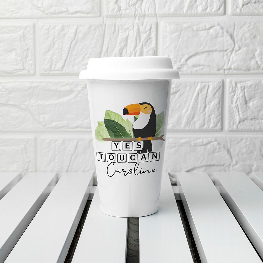 Personalised Yes Toucan Eco Travel Mug - treat-republic