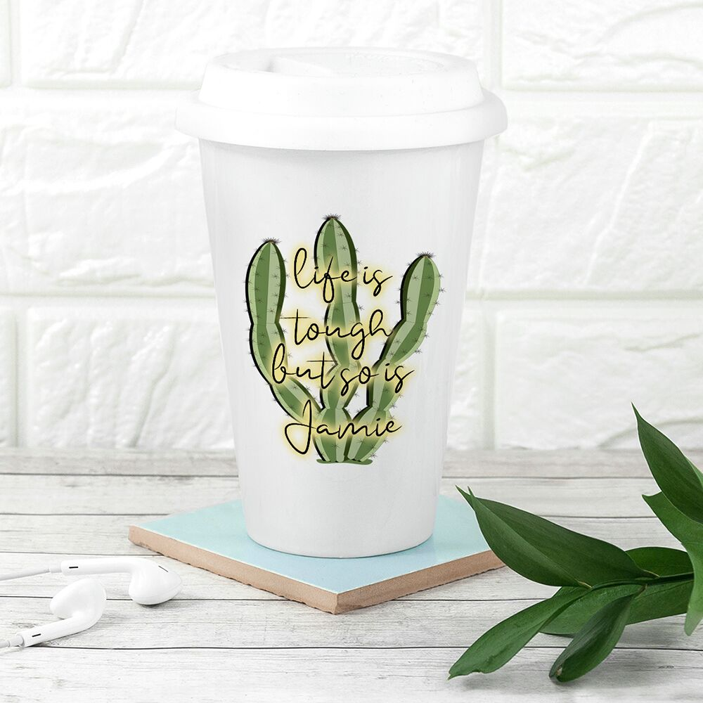 Personalised Tough as Cactus Eco Travel Mug - treat-republic
