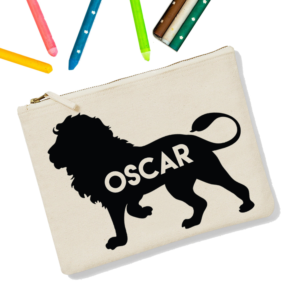 Lion Personalised Zipup Pencil Case - treat-republic