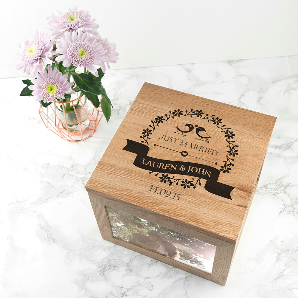 Love Birds' Oak Photo Keepsake Box - treat-republic