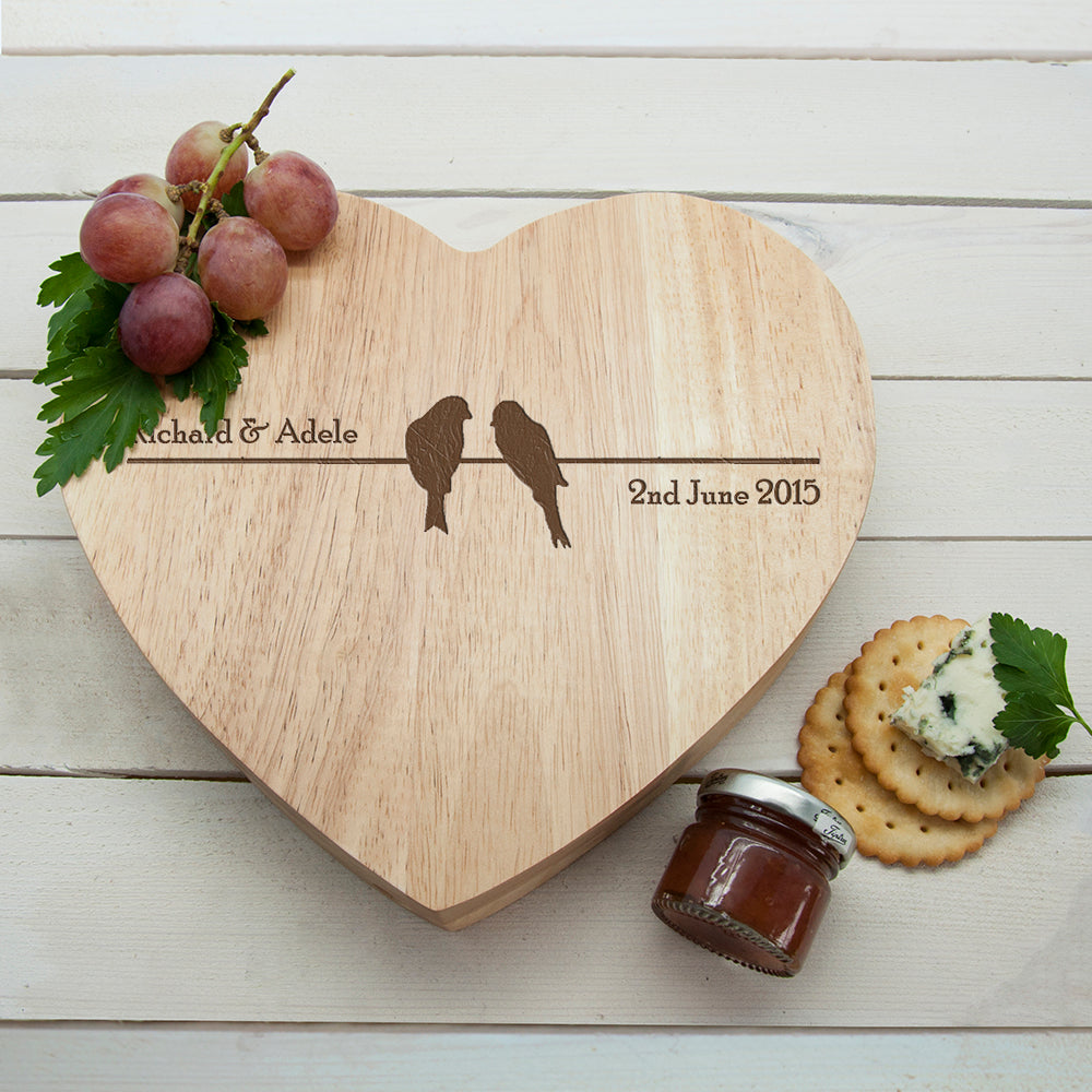 'Love Birds' Romantic Heart Cheese Board - treat-republic