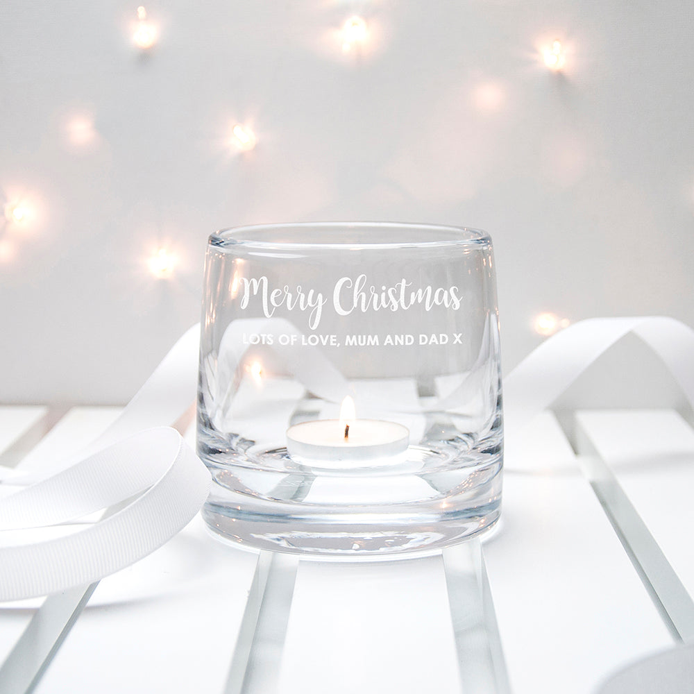 Personalised LSA Christmas Table Storm Lantern Small - treat-republic