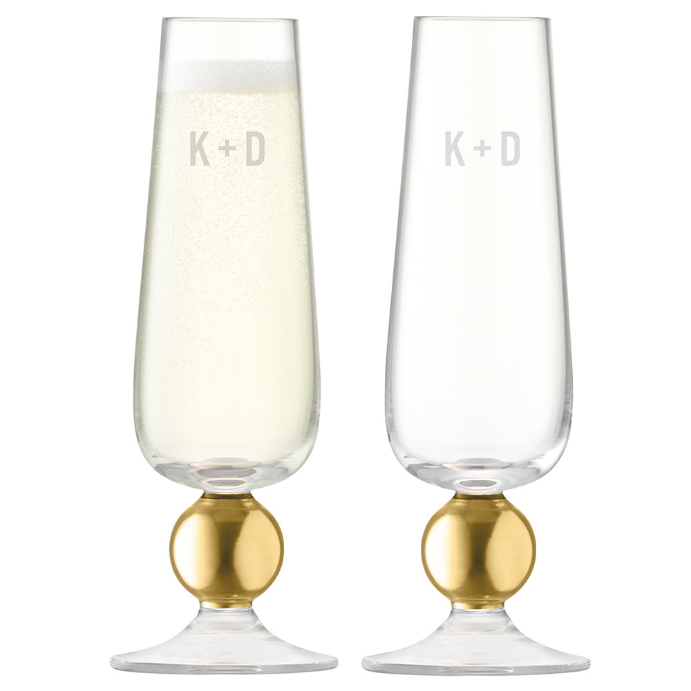 Monogrammed LSA Set Of Two Matte Gold Champagne Glasses