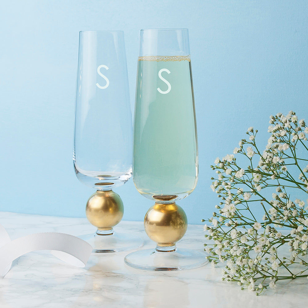Personalised LSA Set Of Two Gold Champagne Glasses - treat-republic