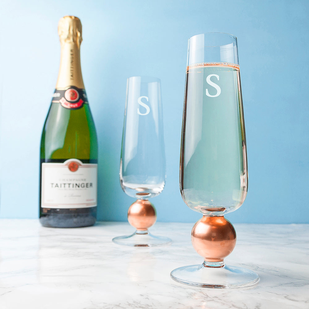 Monogrammed LSA Set Of Two Rose Gold Champagne Glasses - treat-republic
