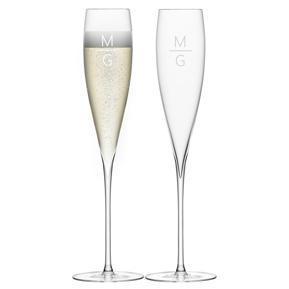 LSA Monogrammed Savoy Champagne Flutes - treat-republic