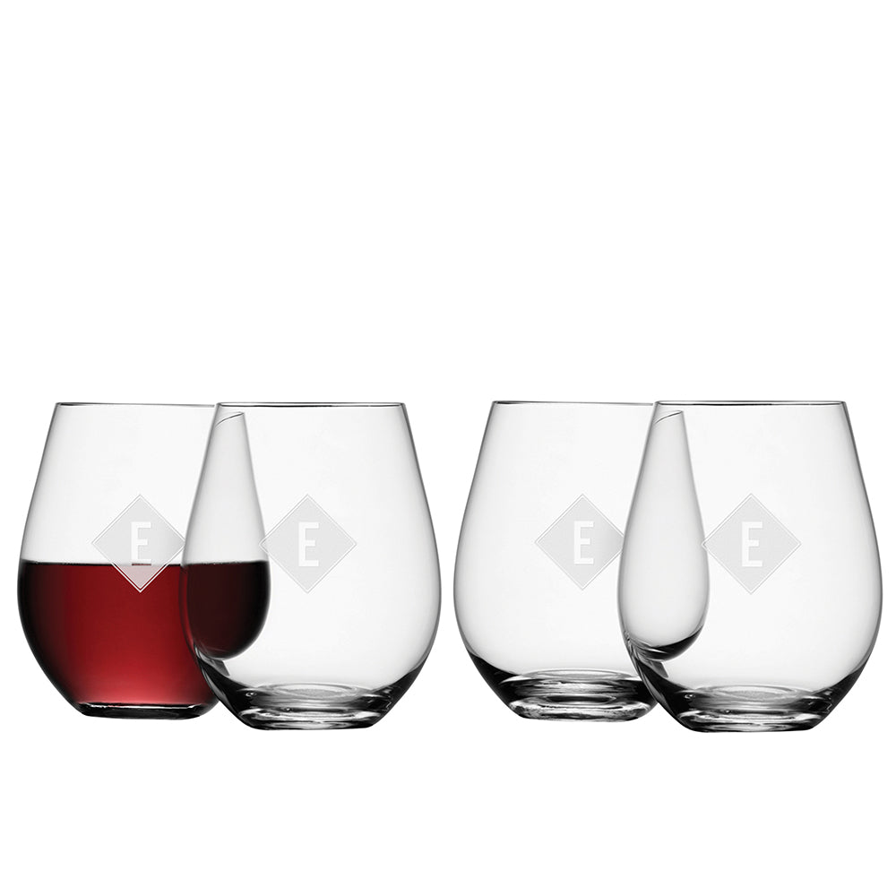 LSA Monogrammed Stemless Red Wine Glass - Set of 4 - treat-republic