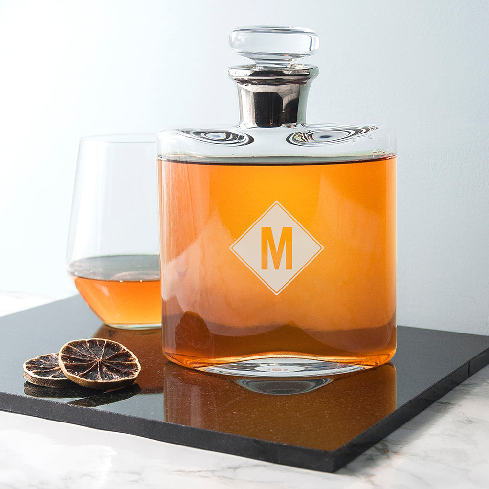 LSA Monogrammed Platinum Necked Decanter - treat-republic
