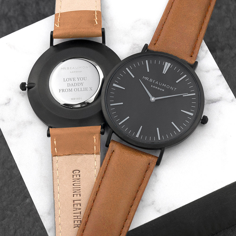 Men's Modern-Vintage Personalised Watch With Black Face in Camel