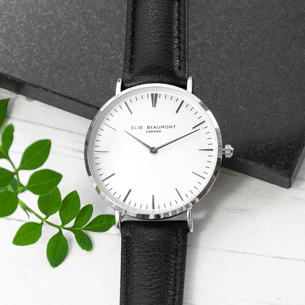 Elie Beaumont Ladies Personalised Leather Watch In Black & Silver - treat-republic