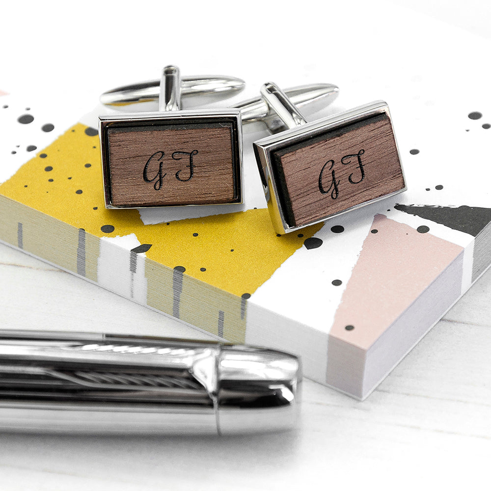 Monogram Engraved Rectangle Walnut Cufflinks - treat-republic