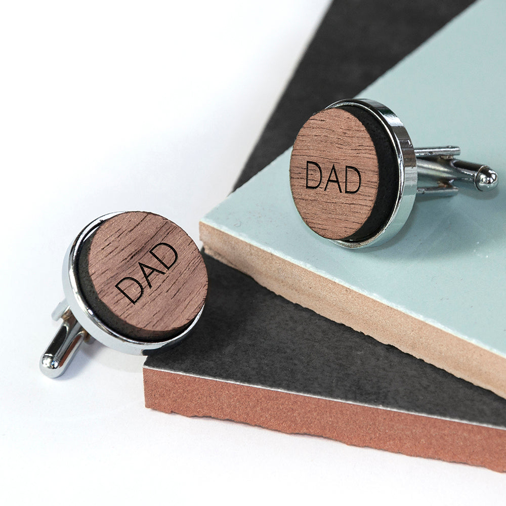 Monogram Engraved Round Walnut Cufflinks - treat-republic