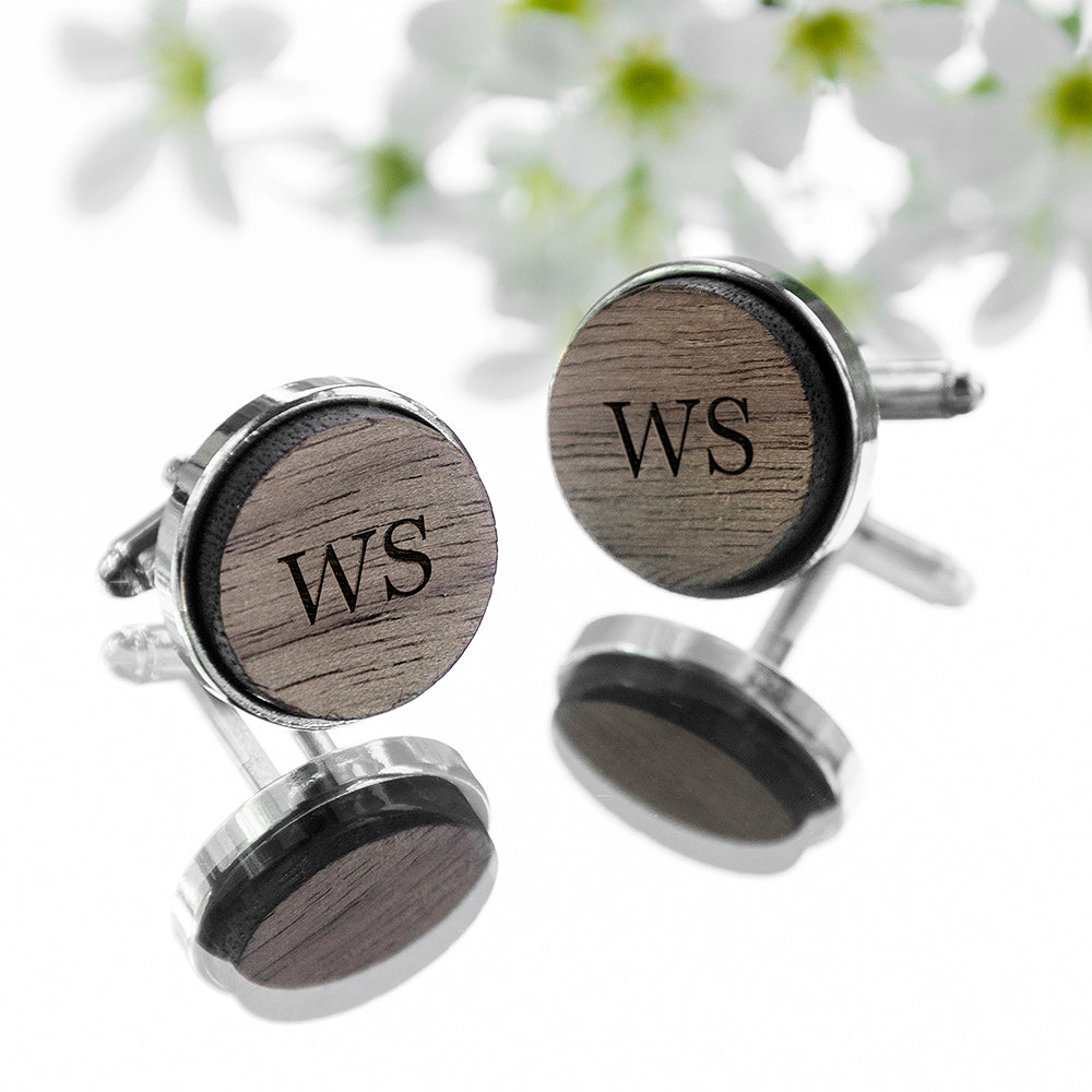Monogram Engraved Round Walnut Cufflinks
