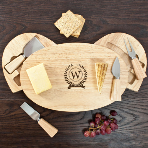 Personalised Classic Monogram Oval Cheese Board with Knives - treat-republic