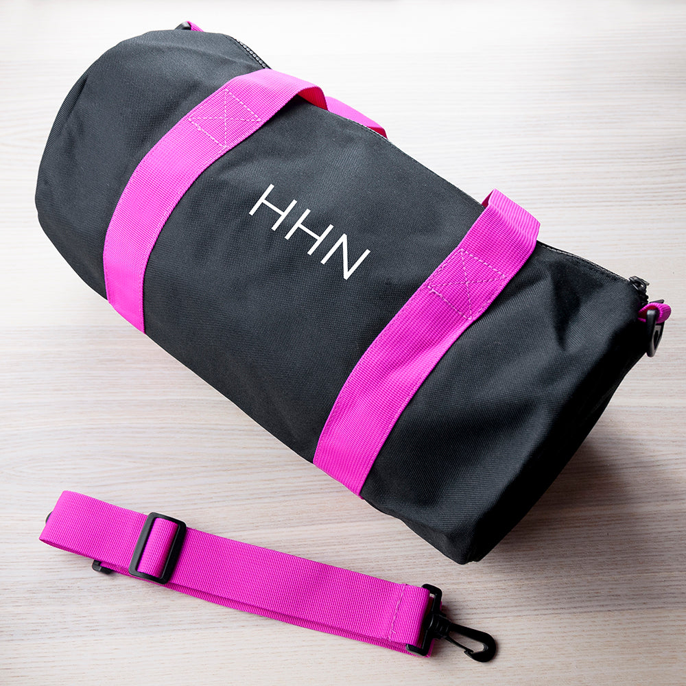 Monogrammed Barrel Gym Bag in Black & Fuchsia - treat-republic