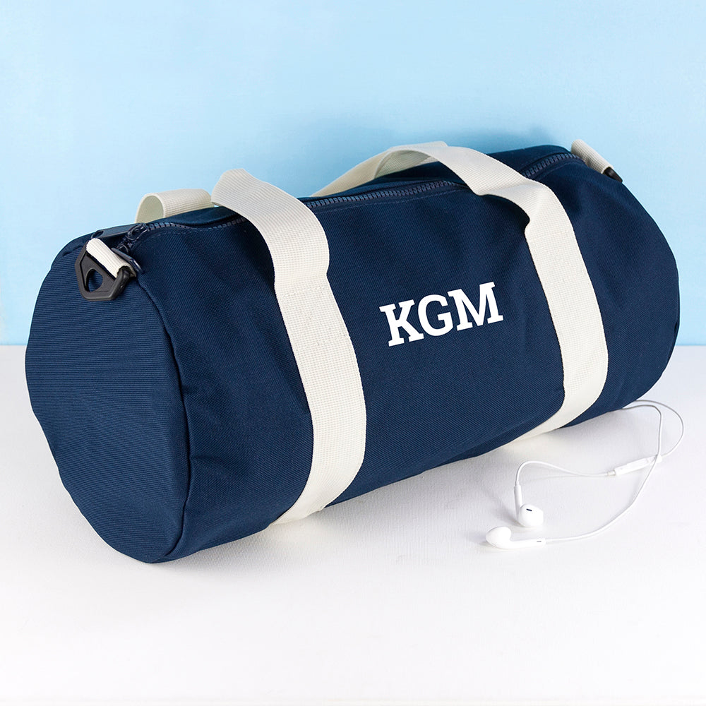 Monogrammed Barrel Gym Bag in Navy - treat-republic