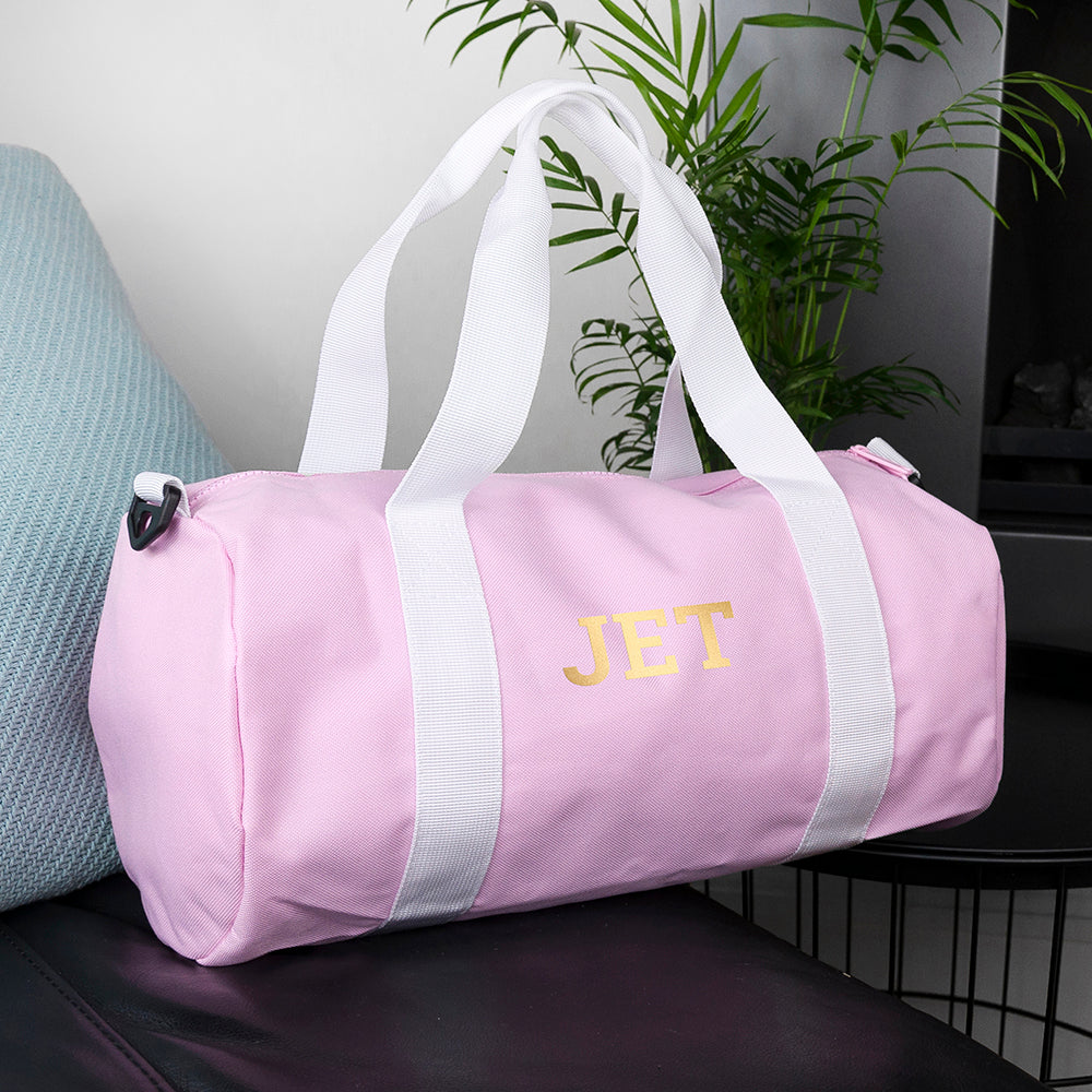 Monogrammed Barrel Gym Bag in Pink