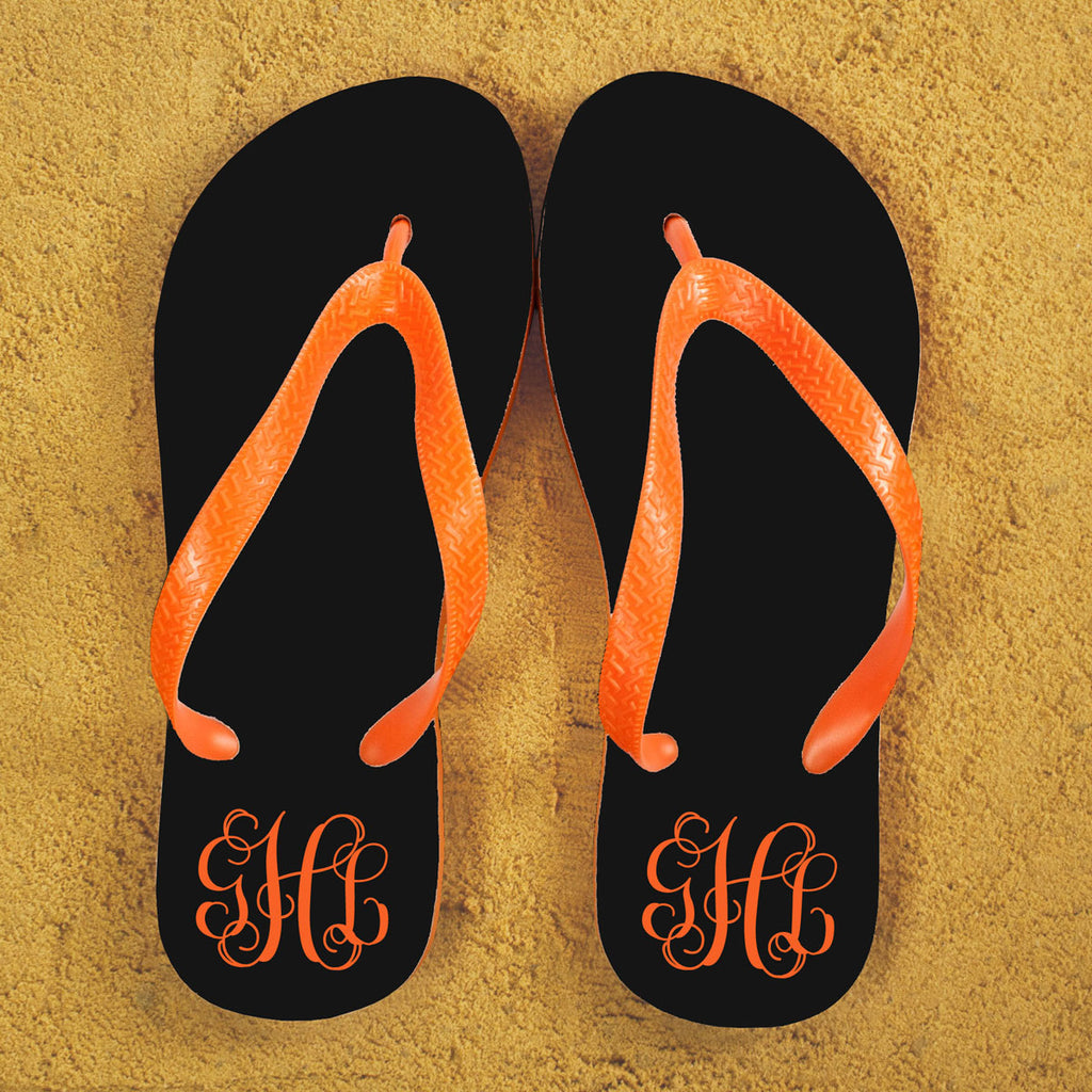 Monogrammed Flip Flops in Black and Orange - treat-republic