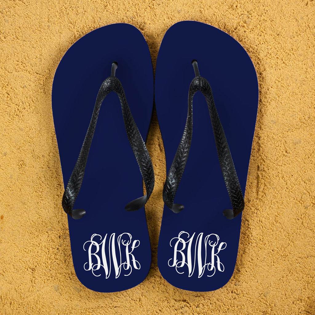 Monogrammed Flip Flops in Blue and White - treat-republic