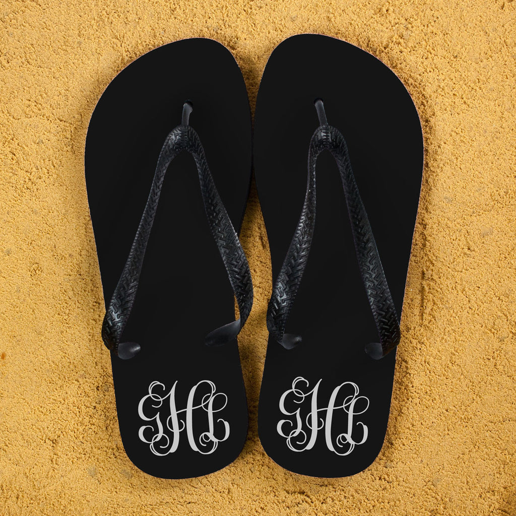 Monogrammed Flip Flops in Black and White - treat-republic