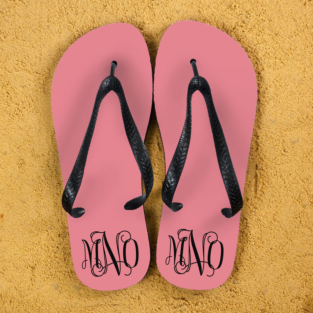 Monogrammed Flip Flops in Pink and Grey - treat-republic