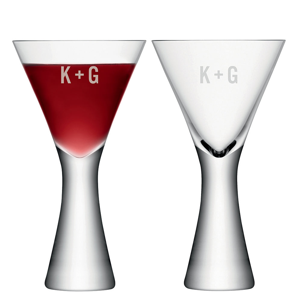 Monogrammed LSA Wine Glasses Set of  2
