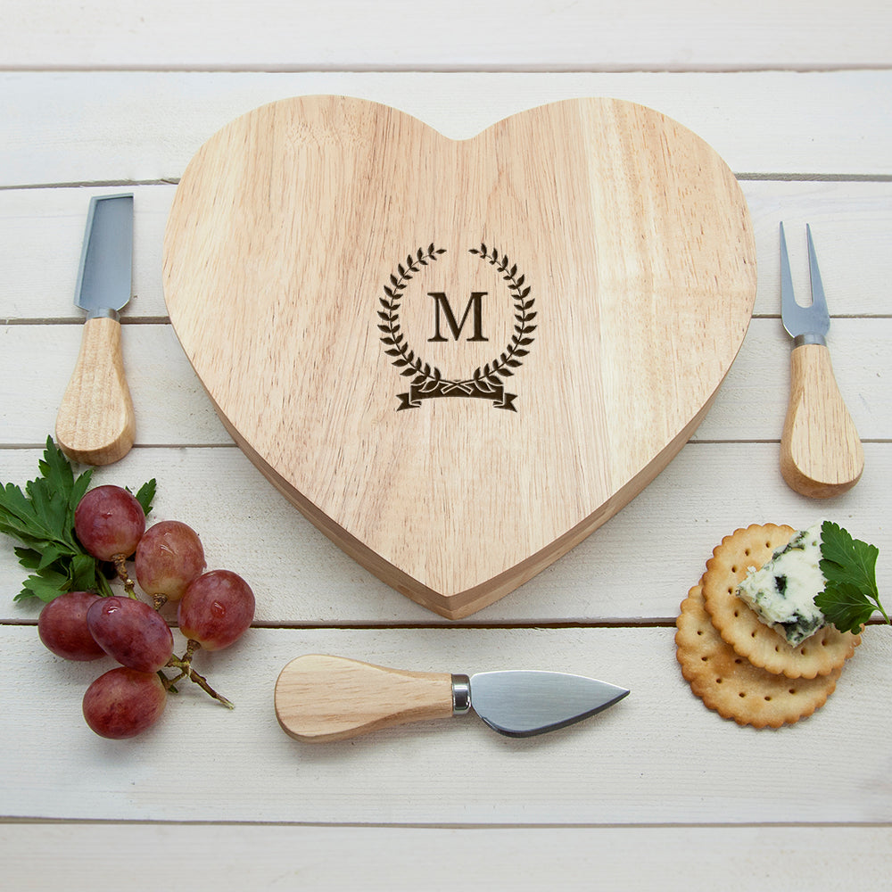 Monogrammed Romantic Wreath Heart Cheese Board - treat-republic