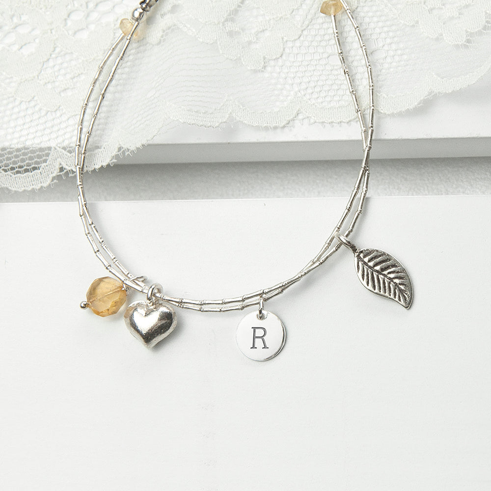 Personalised Silver Bracelet with Citrine for Adult or Child - treat-republic